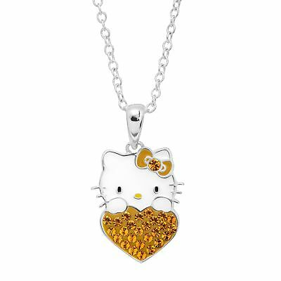 Girl's Hello Kitty November Heart Pendant with Crystals Silver-Plated Brass