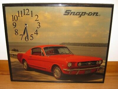 "SNAP-ON Tools - Vintage Red MUSTANG Battery Operated Clock - 20"" x 16"""