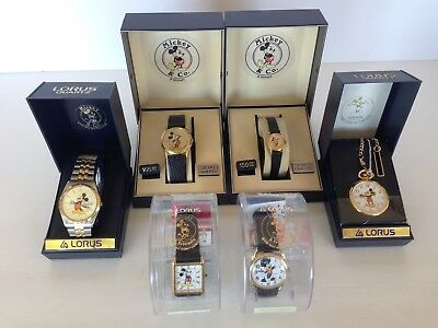 Lot of 6 Vintage Mickey Mouse Watches Seiko and Lorus NOS in original boxes