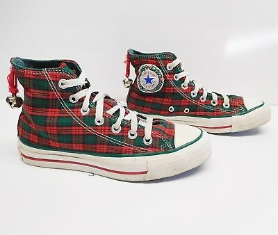 Vintage CONVERSE Red  Green Plaid Christmas Bell Sneakers Shoes USA M 4.5 W 6