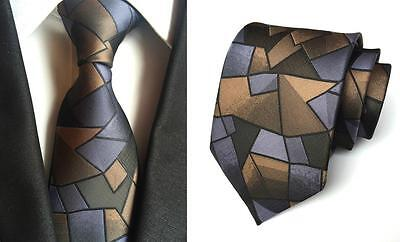 Brown, Blue and Black Patterned Handmade 100% Silk Tie
