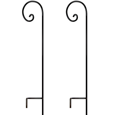 2 Pack Shepherds Hook 65 Inch Tall 1/2 Thick Rust Resistant Solid Metal For Bird