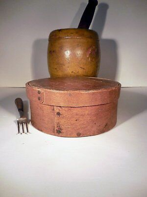 AAFA 19th c New England Pantry Box Antique Bentwood Box Orig Red Paint Remnants