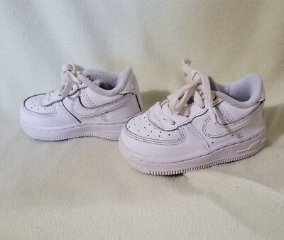Nike 314194-117 Air Force 1 Infant Toddler Boys Girls White Sneakers Size 5C