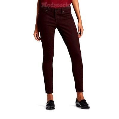 Womens Mossimo Mid Rise Jegging Burgundy Ankle Skinny Jeans NWOT C446