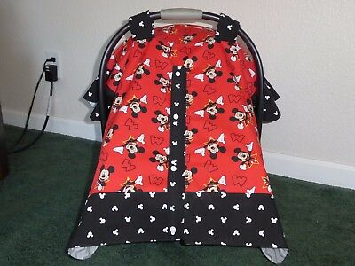 **MICKEY MOUSE** w/snap closure Handmade Baby Infant Car Seat Canopy-Cover