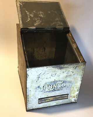 Vtg H.a Johnson Bestovall Tin Store Display Countertop Box Old Patina Boston