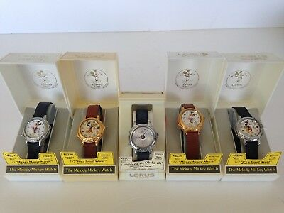 Lot of 5 Vintage Mickey Mouse Melody Watches Lorus NOS in original boxes