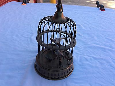 Miniture Vintage Brass Hanging Bird Cage with 2 Artificial Birds