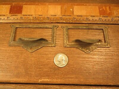 2 File Drawer Pulls Handles Finger Tip index Card Catalog Holders Vintage Brass