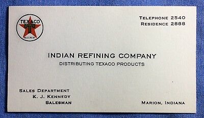 vintage ••INDIAN REFINING CO.•• old Gas Station oil pump •TEXACO BUSINESS CARD•