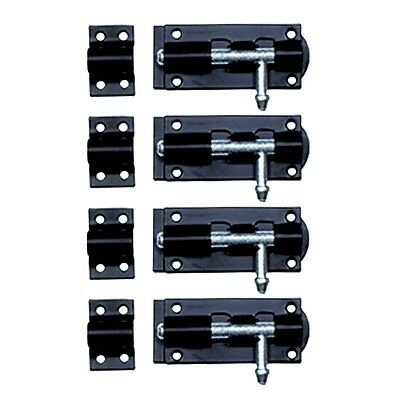 4 Black Wrought Iron Slide Door Bolt 6"