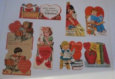 Vintage Lot of 7 Teacher Valentine Cards