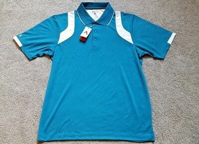 0848b1c5 NWT Antigua Men's Desert Dry Performance Wicking Golf Polo Shirt Large Teal