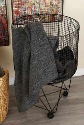 Vintage Style Rolling Laundry Basket Wire Hamper Storage Bin French Country Look