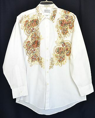 Gold Glitter Party Shirt Sz 16 32/33 Mens White Dress Decorated Front & Back