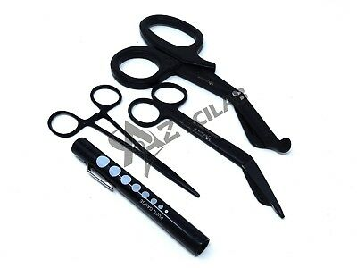 Black EMT/ Paramedic Tools Medical Bandage Scissors Shears Penlight Hemostat New