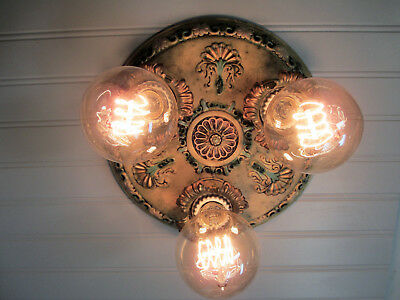 "Vintage Antique Art Deco Flush Mount Ceiling Light Rewired 10 1/2"" diam."