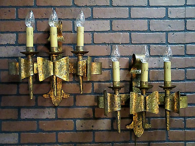 "Vintage Antique Hand Wrought Iron Gold Gilt Gothic Wall Sconces 1920's 17"" T"