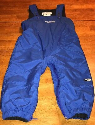 COLUMBIA Fleece Lined Bib Overall Snow Pants Baby Toddler Boy's Size 2T Blue