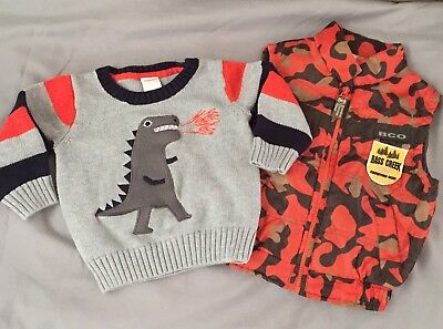 Baby Boy Clothes 12 - 18 Months LOT Gymboree Sweater Camo Vest
