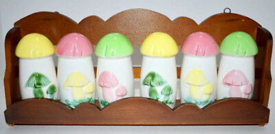 Spice Containers Wooden Rack 6 Ceramic Mushroom Shakers Made in Japan