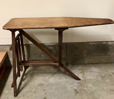 Antique Vintage Primitive Very Old Wooden Folding Ironing Board Farmhouse