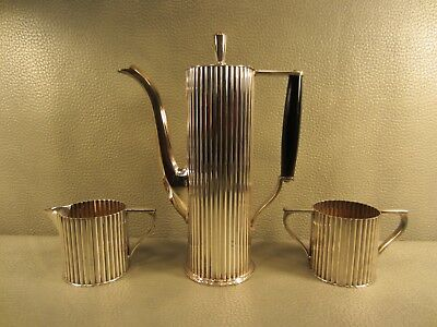 Art Deco Melford Silver Plate 3pc Coffee Tea Set with Creamer & Sugar Bowl