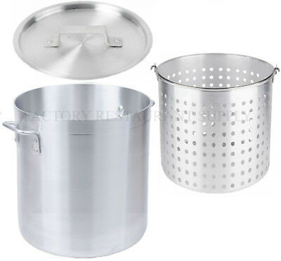 60 Qt 4mm Aluminum Stock Pot Restaurant Commercial Lid Steamer Boil Fryer Basket