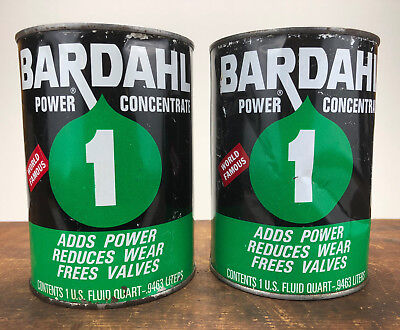 TWO Vintage Bardahl Oil Additive Concentrate SEALED FULL Oil Can Quart