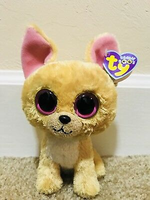 "Ty Beanie Boos NACHO the 6"" Chihuahua Dog with TAG Retired Rare Solid Eyes"