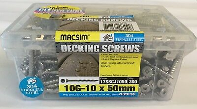 10gx 50mm stainless steel 304 decking screws 300pcs handy pack square heads