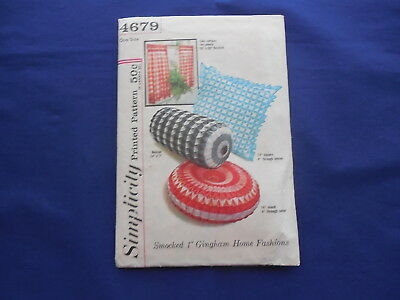 Vintage Simplicity Smocked Gingham Pattern for Pillows & Curtains #4679 1950's