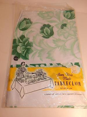 Vintage Mid Century Modern 1950S Tablecloth Nos Deadstock Green Floral 54 By 54