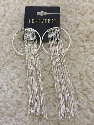 New Forever 21 Chain Long Drop Tel Hoop Silver Earrings Fashion Party Jewelry