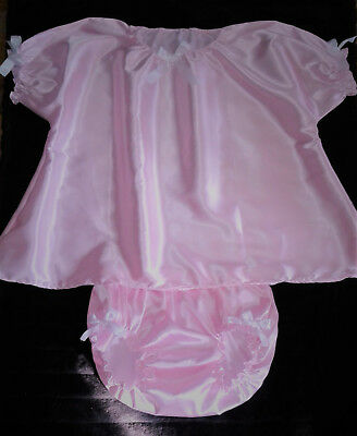 Adult Sissy Baby Doll Style Dress Gown And Panties Pink Satin White Bows