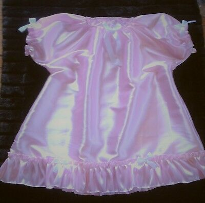 Adult Sissy Baby Doll Style Dress Gown No Panties Pink Satin