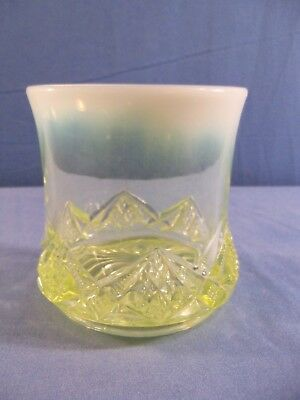 NORTHWOOD DIAMOND SPEARHEAD Vaseline Opalescent  Glass Open Sugar Bowl