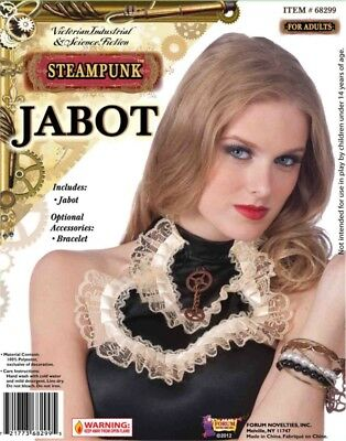 Womens Black Steampunk Costume Jabot with Gear and Lace Detail