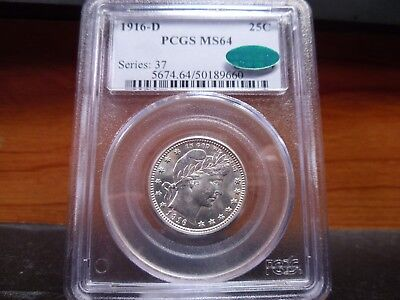 1916-D MS64 Barber Quarter PCGS/CAC Certified  and Blast White