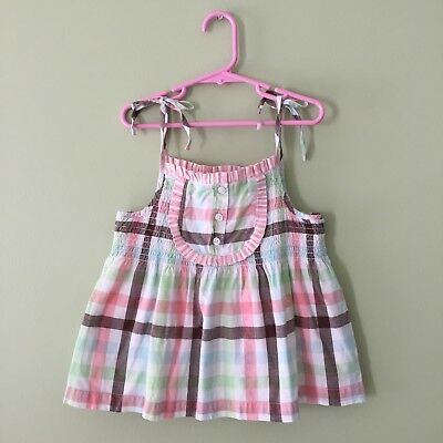 Janie And Jack ICE CREAM SOCIAL Girls 5T Pink Plaid Swing Top Shirt SPRING