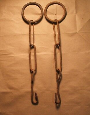 Vintage Barn Find - Primitive Rusty Chains - Round & Oval Links - 2 Strands