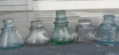 Lot Of Five Early, Crude Antique Ink Bottles- Cone,square, Spool Shape