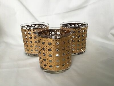 Vintage Set 3 Mid Century Culver Cannella Gold Cane Rocks Low ball Glasses