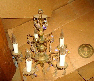 Vintage Crystal Bronze  Chandelier