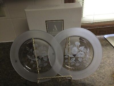 Avon Hummingbird Crystal Dessert/Snack Plates (Set of 2) - New in Box