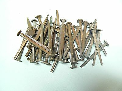 """vintage 50 all Copper Square Nails 1""""3/4 long new old stock"""