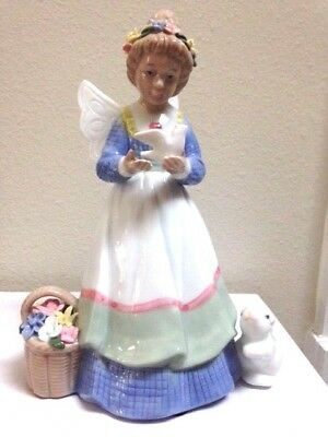 "Susan Winget  ""Everyday Angels "" figurine Angel with Rabbit, Flowers, Bird"