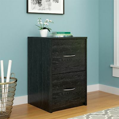 Black File Cabinet Small Filing Office Home Organizer Storage 2 Tier Wood Drawer