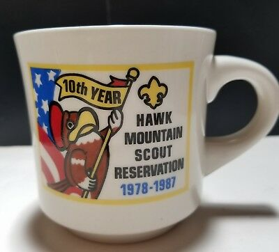 Boy Scout Hawk Mountain Scout Reservation 10th Anniversary Coffee Mug 1978-1987